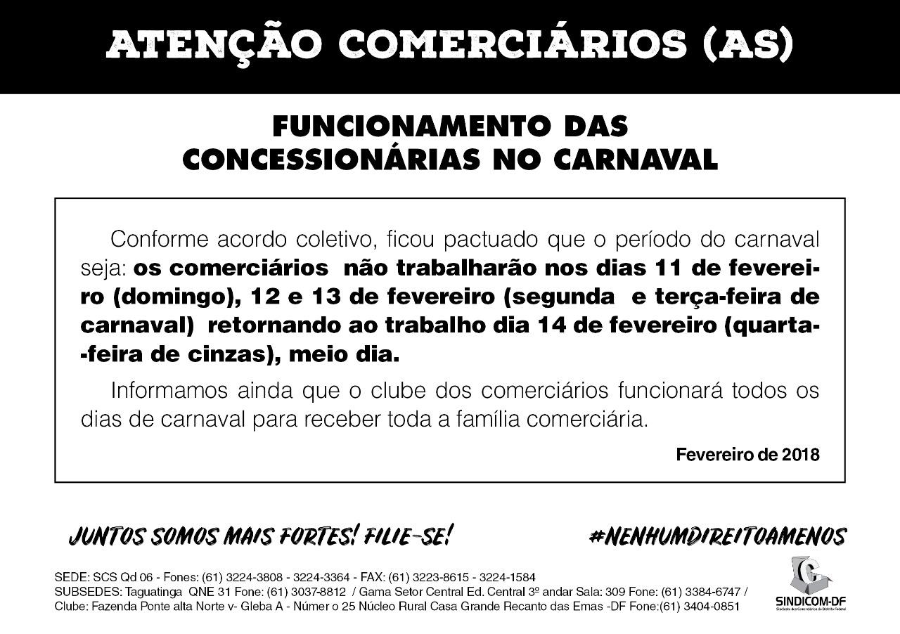 Comerciários (as), Fiquem atentos ao funcionamento de cada seguimento no carnaval! #lutasindical