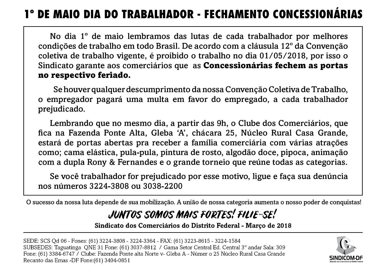 Fechamento das Concessionárias 1º de maio 2018
