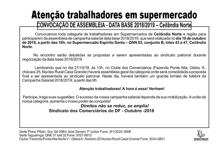 Assembleia data-base supermercado 2018/2019  – Ceilândia Norte