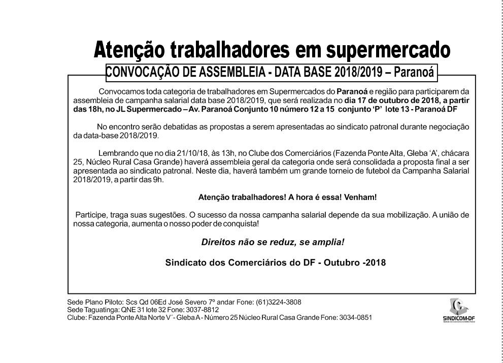 Assembleia data-base 2018/2019 Supermercados Paranoá