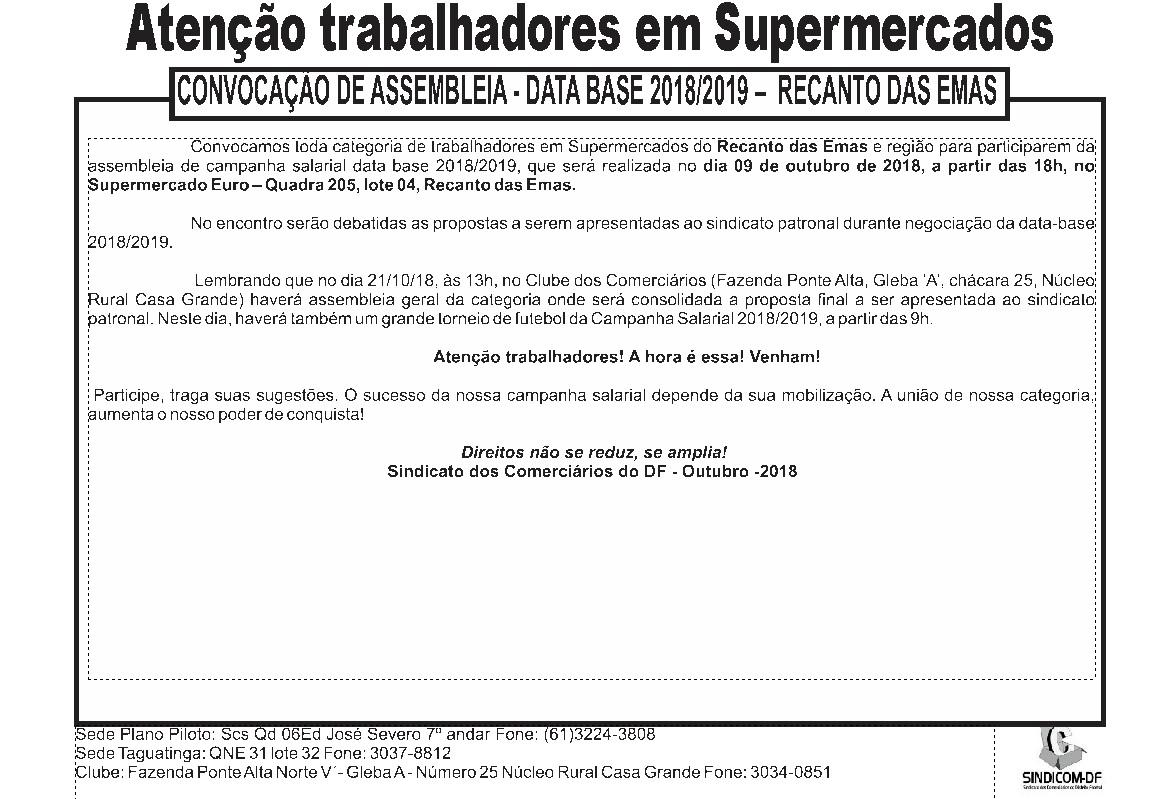 Assembleia data-base supermercados 2018/2019 – Recanto das Emas
