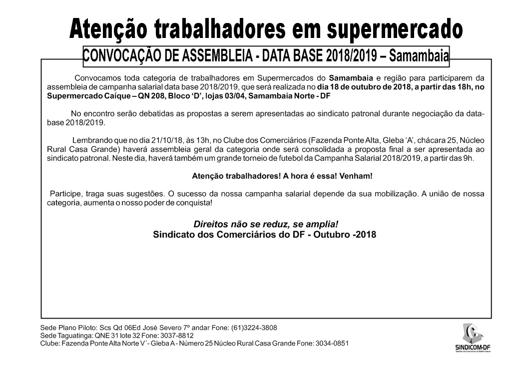 Assembleia data-base 2018/2019 supermercados Samambaia