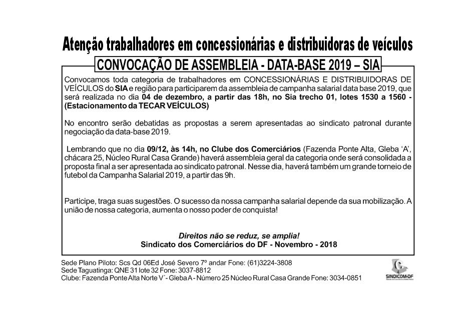 ASSEMBLEIA DATA-BASE CONCESSIONÁRIAS E DISTRIBUIDORAS DE VEÍCULOS – SIA