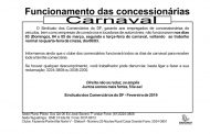 Funcionamento das Concessionárias  – Carnaval