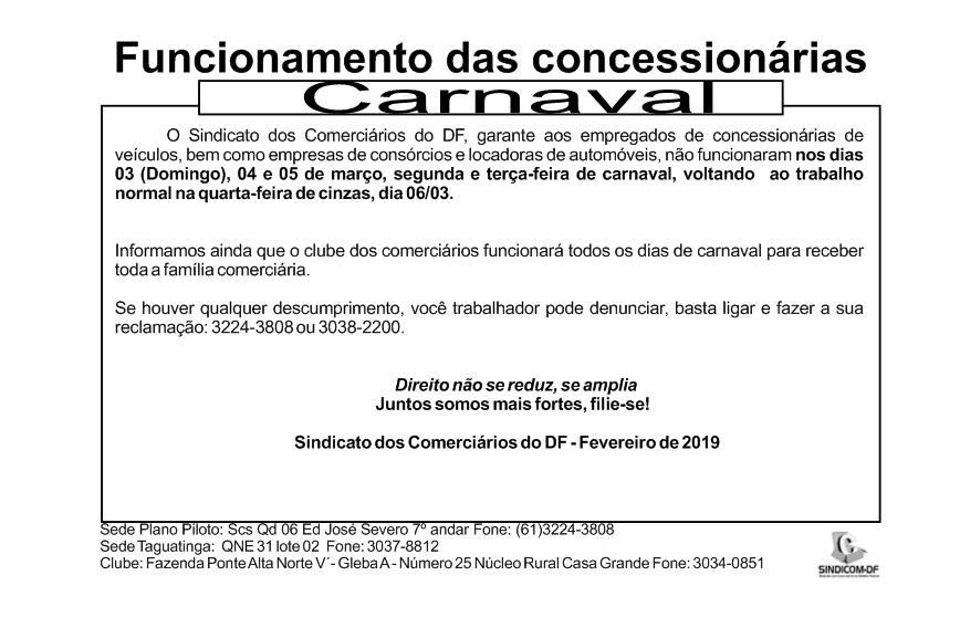 Funcionamento Concessionárias – Carnaval