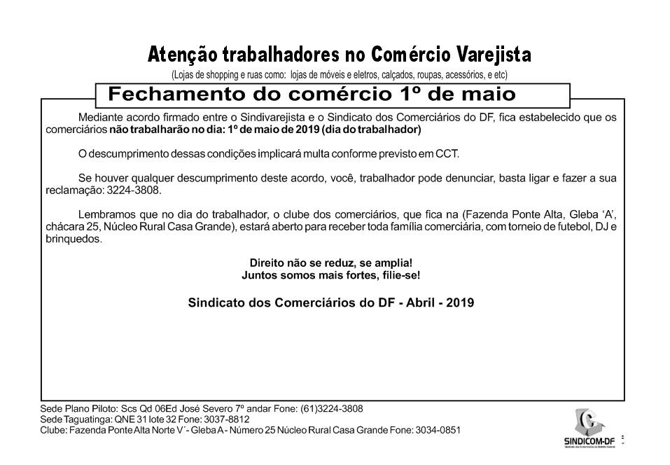 Fechamento do Comércio Varejista no 1º de maio – Dia do trabalhador