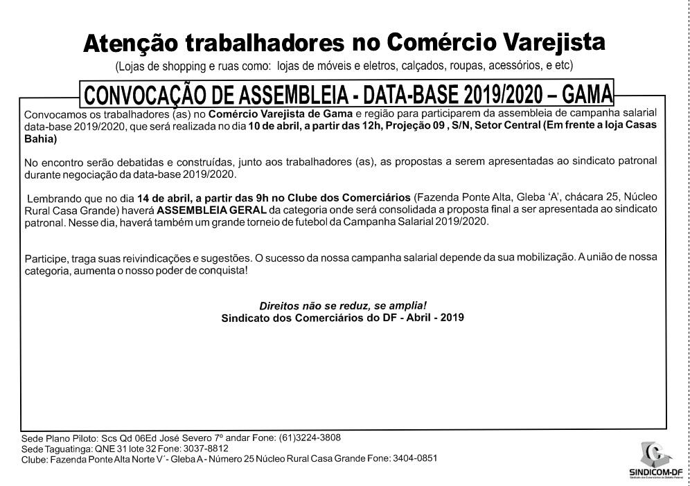 Convocação de Assembleia – Data-Base -2019