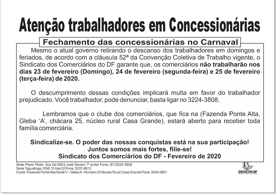 Fechamento das concessionárias no carnaval