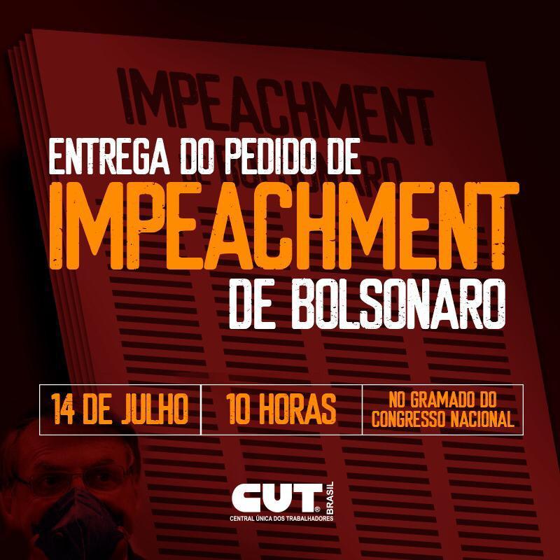 CUT e diversas entidades realizam ato para entrega do pedido de impeachment de Bolsonaro, nesta terça (14)